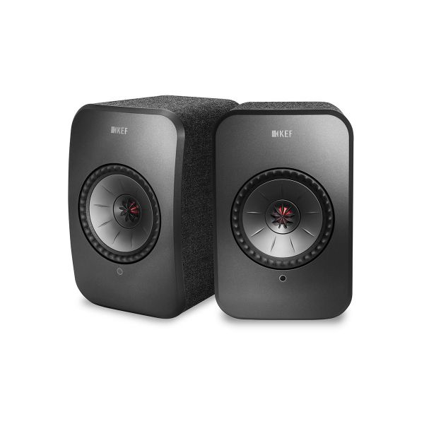 KEF LSX Wireless Stereo Desktop Speakers in black, front pair.