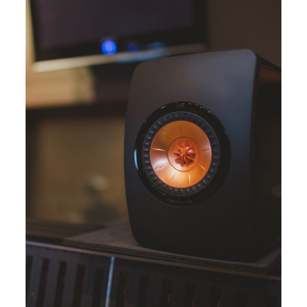 KEF LS50 Gloss Black / Rose Gold Studio Shot