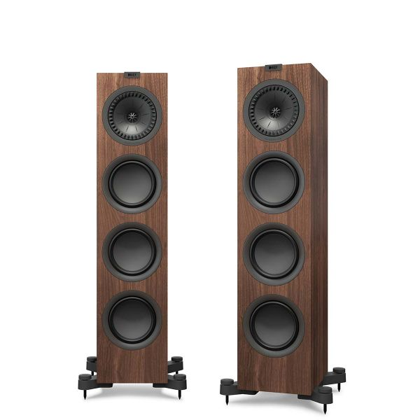 KEF Q550 Floorstanding loudspeaker for music and home theater in walnut.