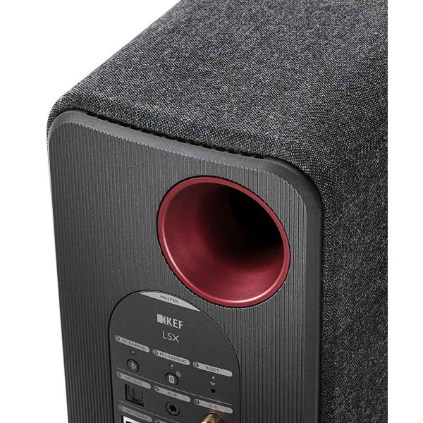 KEF LSX Wireless Desktop Speakers in Black, inputs back panel.
