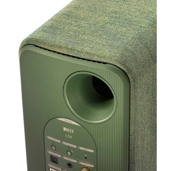 KEF LSX Wireless Desktop Speakers in green, inputs, back panel.
