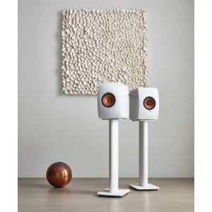 KEF Performance Speaker Stand White Lifestyle