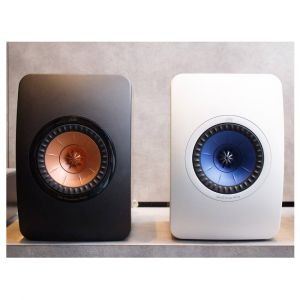 KEF LS50 in Gloss Black / Rose Gold and Gloss White / Electric Blue