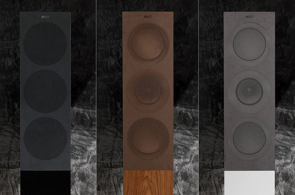 KEF R Series includes custom cut magnetic microfiber grilles.
