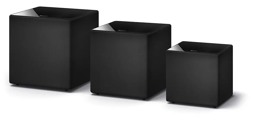 KEF's line of KUBE Subwoofers come in three sizes to fit any space.